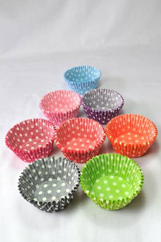 Cupcake Paper Cases Multi-Coloured Polka Dots 44x30mm (500)