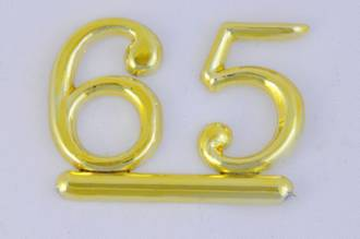 25mm Numeral 65, Gold (pack of 6)