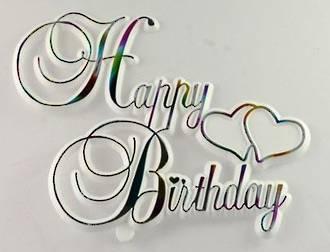 Happy Birthday Motto, Multi on white, 100mm (6)