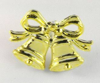 Gold 30mm Bow & Bells (6)