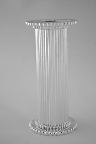 Round Fine Fluted Silver Pillar 75mm