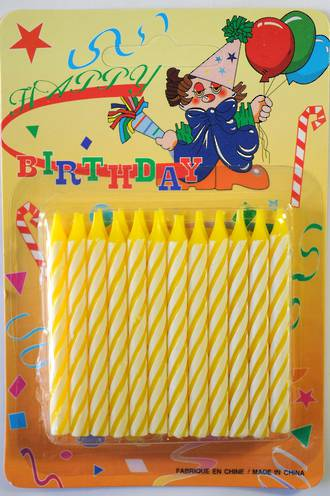 Candle Candy Striped Yellow 60mm (24)