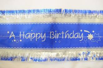 Happy Birthday Band 7m x 76mm wide Silver on Blue