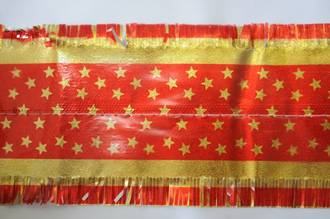 Star Pattern Band 7m x 76mm wide  Gold on Red