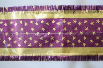 Star Pattern Band 7m x 76mm wide  Gold on Purple