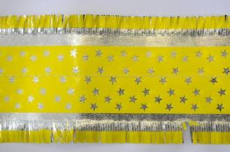 Star Pattern Frill 7m x 76mm wide Silver on Yellow