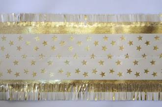 Star Pattern Band 7m x 76mm wide  Gold on White