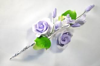 Icing Tea Rose spray, lavender 120mm, (Box of 3)