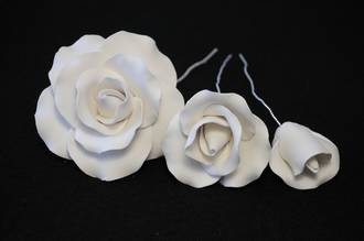 Icing Rose Mix White, 35mm, 55mm, 85mm flowers (Box 15)