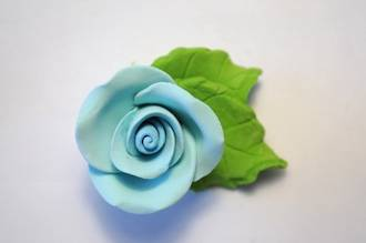 Icing Blue Roses With Leaves 40mm.  Box of 144 - SOLD OUT