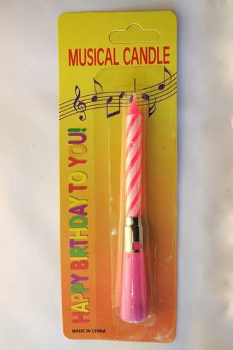 Candle Musical Pink Happy Birthday (110mm)