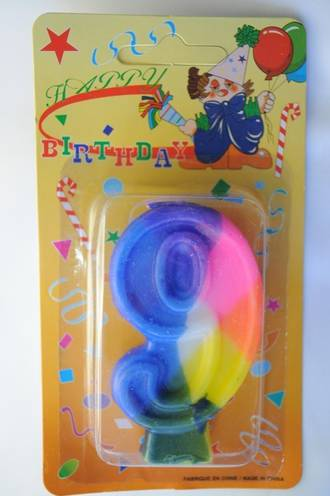 Candle Rainbow Numeral 9 (75mm)