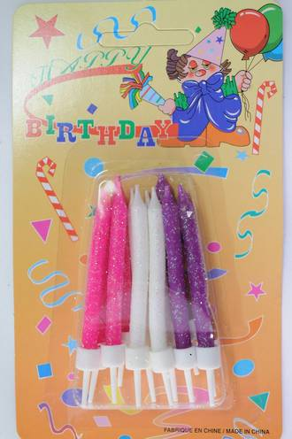 Candles Glitter with holders, Pink, white & purple, 65mm (12)