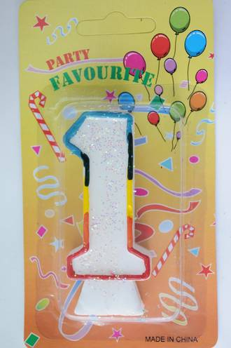 Candle White Multi Colour Edge Number #1 (80mm)