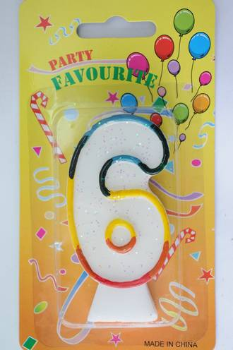 Candle White Multi Colour Edge Number #6 (80mm)