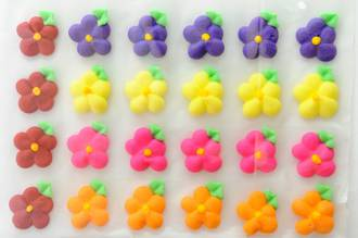 Icing Drop Flowers with leaf 19mm (Packet of 24) - SOLD OUT