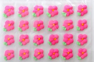 Icing Drop Flowers Pink with leaf 19mm (Packet of 24)