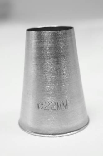 Large Stainless Steel Plain 22mm Piping Tube, 5cm length, nozzle