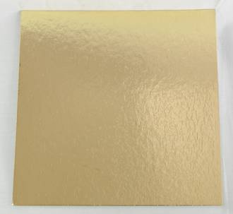 "200mm or 8"" Square 2mm Cake Card Gold - Bundle of 100"