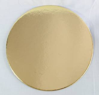 "250mm or 10"" Round 2mm Cake Card Gold"