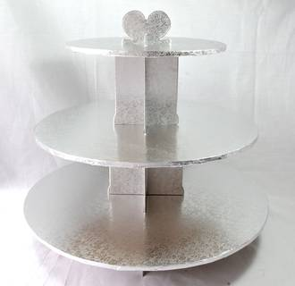 Cupcake Silver Stand, 3 Tier, 36cm base, 33cm high