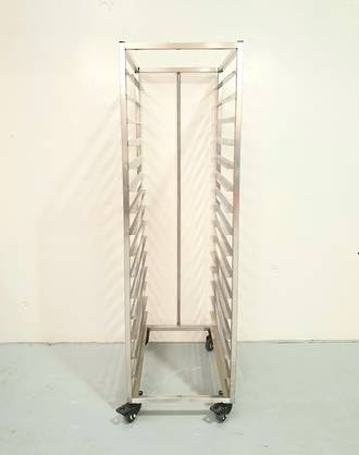 Production Rack S/Steel - 16 Shelf With Bar