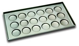 Hamburger Tray, Shallow 102x12mm. Tray Size: 406x760mm, 18 forms