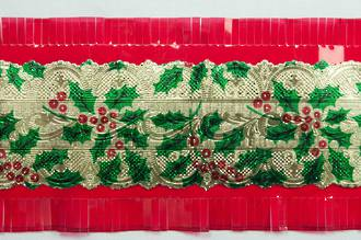 Christmas Holly Cake Frill (Gold/Red) 64mm x 7.33 Metre Roll