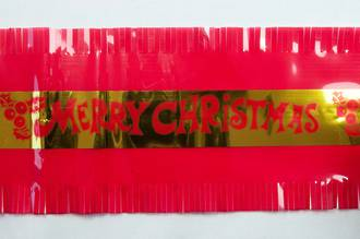 Gold Merry Xmas Cake Frill on Red (7.33 Metre Roll, 83mm width)