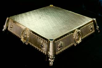 Cake Stand, Gold square stand.  Top 350mm, height 110mm