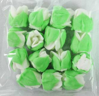 Icing White Roses Buds 15mm, Pkt 15