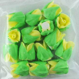 Icing Yellow Roses Buds 15mm, Pkt 15