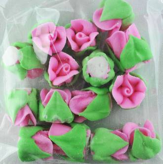 Icing Pink Roses Buds 15mm, Pkt 15