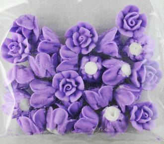 Icing Lavender Roses 15mm, packet of 24