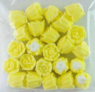 Icing Yellow Roses 10mm, packet of 24 - DELETE WHEN SOLD