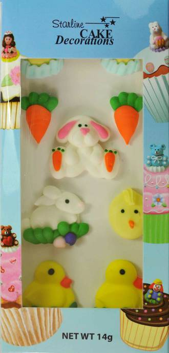 Easter Collection, Assorted 2D Icing Items (Retail Box of 9)