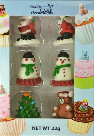 Christmas (3D Assorted Icing - Packet of 6)