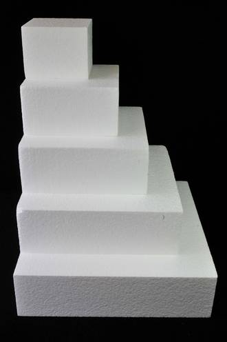 "10"" Square Cake Dummy, 75mm deep, Polystyrene"