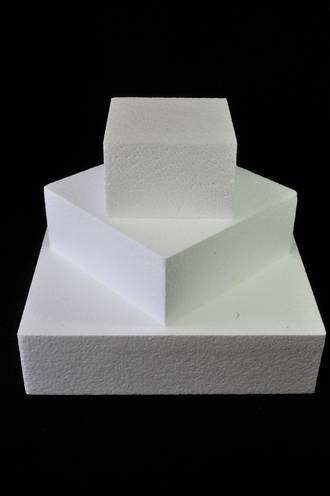 "6"" Square Cake Dummy, 75mm deep, Polystyrene"