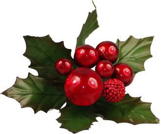 Metallic Berries and Leaves-Red