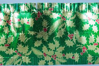 Christmas Cake Foil Frill, Gold/Green Holly (7.33 Metre Roll, 83mm width)