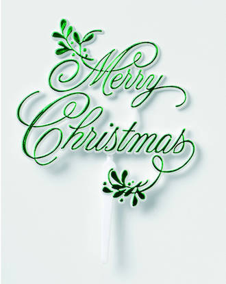 Merry Christmas Mistletoe Pic Motto 90 x 85mm, Green