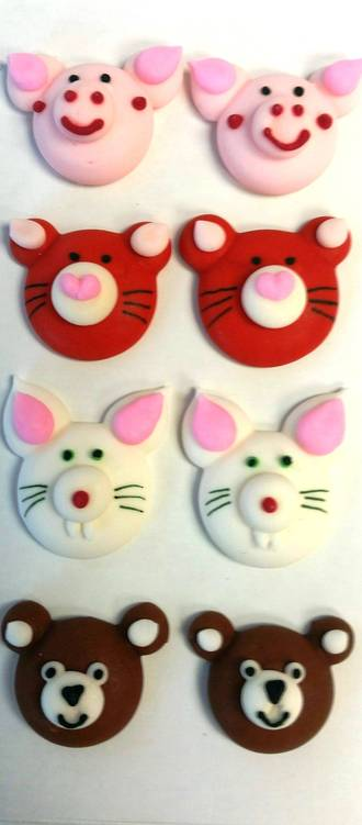 Animal Faces (Assorted) 2D Icing.  Retail Box of 8, 20mm