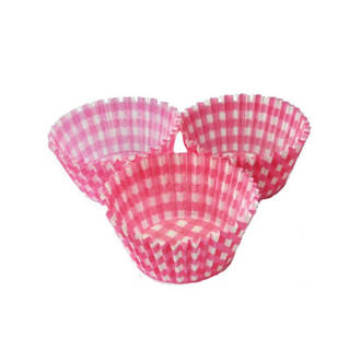 Cupcake Paper Cases Gingham Pink 44x30mm (500)