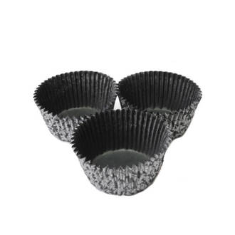 Large Muffin Paper Cases High Tea Black/Silver 55x 36mm (500)