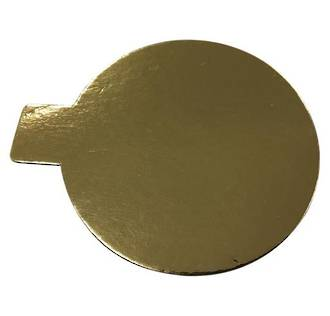 Cake Card 2mm Round with Tab 85mm  Gold  (100 Bundle)