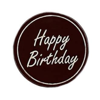"""Chocolate Dark - """"Happy Birthday"""" Round 75mm (50PK)"""