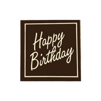 """Chocolate Dark - """"Happy Birthday"""" Square 50mm (30PK)"""