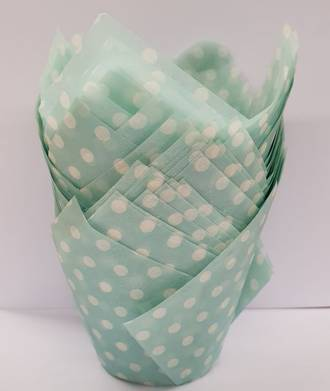 Pastel Blue Polkadot Folded Cups 175x60mm (200)