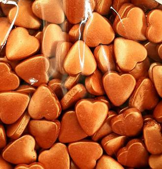 Tablet Hearts Metallic Copper 10mm (1kg bag)